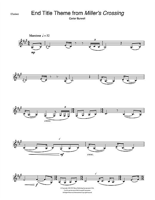 Carter Burwell Miller's Crossing (End Titles) sheet music notes and chords. Download Printable PDF.