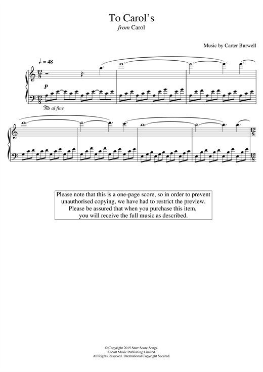 Carter Burwell To Carol's (from 'Carol') sheet music notes and chords. Download Printable PDF.