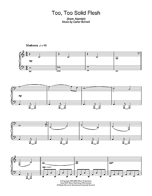 Carter Burwell Too Too Solid Flesh (from Hamlet) sheet music notes and chords. Download Printable PDF.