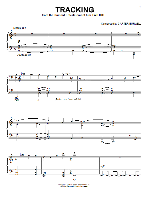 Carter Burwell Tracking sheet music notes and chords. Download Printable PDF.
