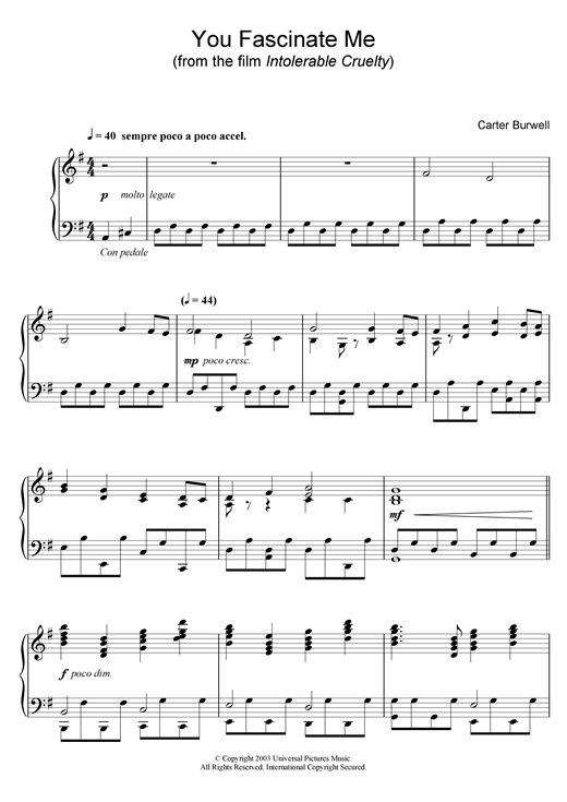 Carter Burwell You Fascinate Me (from Intolerable Cruelty) sheet music notes and chords. Download Printable PDF.