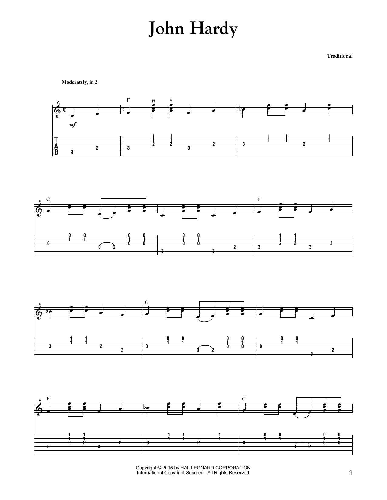 Carter Style Guitar John Hardy sheet music notes and chords. Download Printable PDF.
