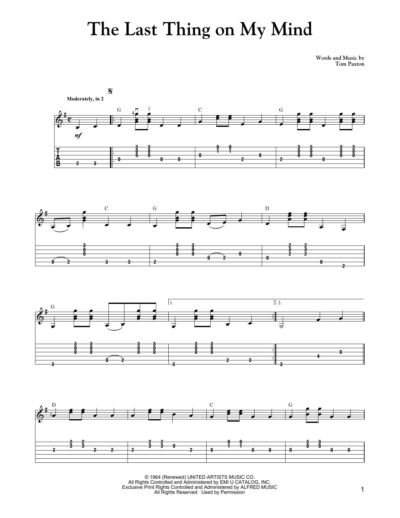 Carter Style Guitar The Last Thing On My Mind Sheet Music Notes, Chords    Download Printable Guitar Tab PDF Score   SKU 15