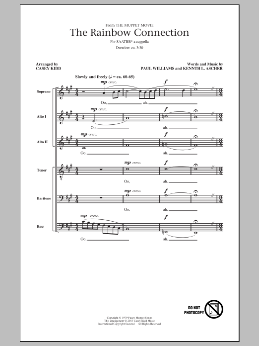 Casey Kidd The Rainbow Connection sheet music notes and chords. Download Printable PDF.