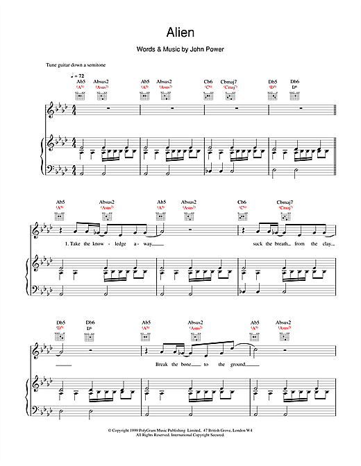 Cast Alien sheet music notes and chords