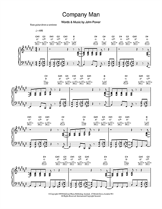 Cast Company Man sheet music notes and chords. Download Printable PDF.