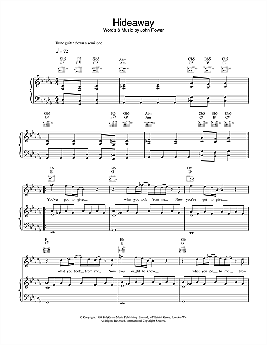 Cast Hideaway sheet music notes and chords