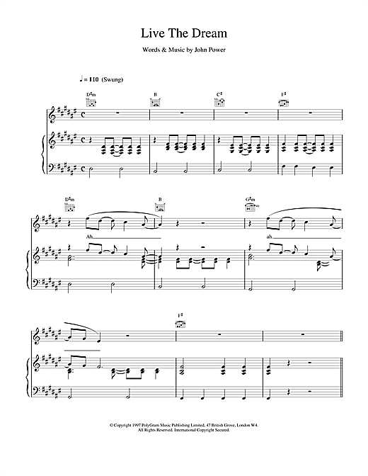 Cast Live The Dream sheet music notes and chords. Download Printable PDF.