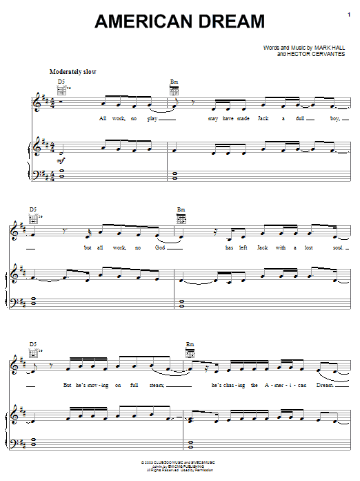 Casting Crowns American Dream sheet music notes and chords. Download Printable PDF.
