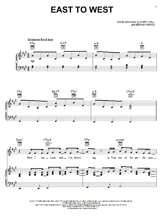 Casting Crowns East To West sheet music notes and chords. Download Printable PDF.