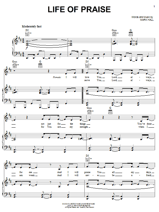 Casting Crowns Life Of Praise sheet music notes and chords. Download Printable PDF.