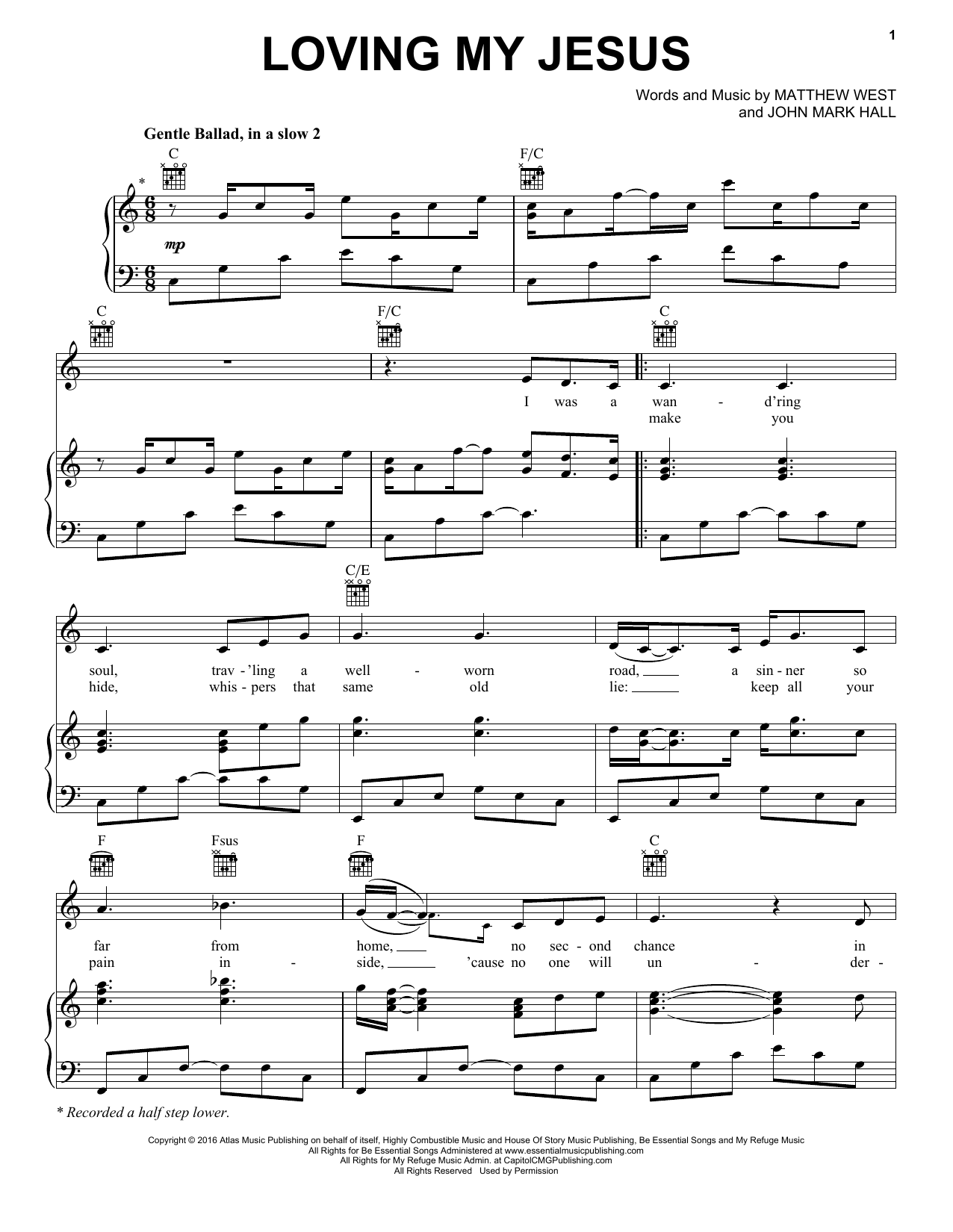 Casting Crowns Loving My Jesus sheet music notes and chords. Download Printable PDF.