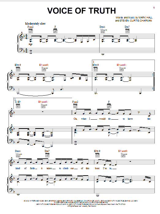 Casting Crowns Voice Of Truth sheet music notes and chords. Download Printable PDF.