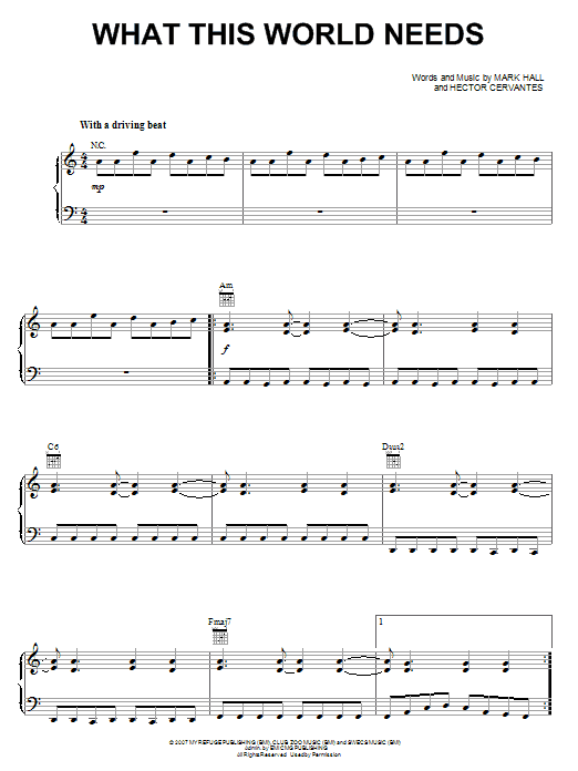 Casting Crowns What This World Needs sheet music notes and chords. Download Printable PDF.