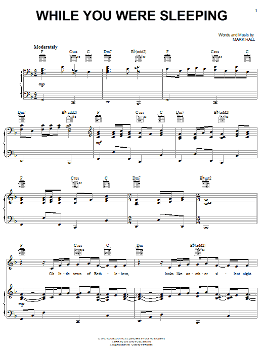Casting Crowns While You Were Sleeping sheet music notes and chords. Download Printable PDF.