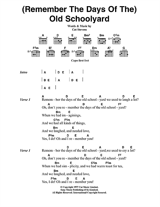 Cat Stevens (Remember The Days Of The) Old Schoolyard sheet music notes and chords. Download Printable PDF.