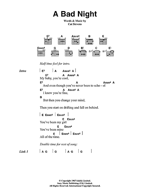 Cat Stevens A Bad Night sheet music notes and chords. Download Printable PDF.