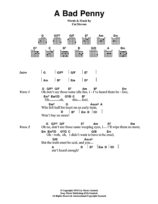 Cat Stevens A Bad Penny sheet music notes and chords. Download Printable PDF.