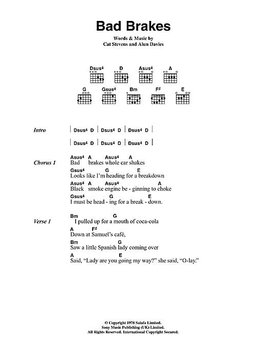 Cat Stevens Bad Brakes sheet music notes and chords. Download Printable PDF.
