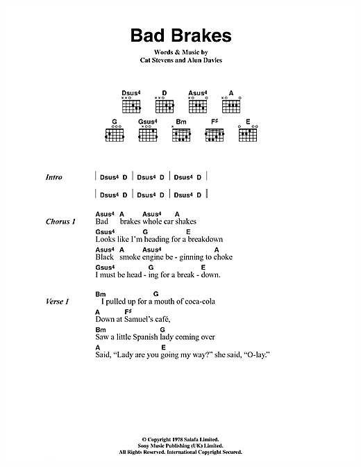 Cat Stevens Bad Brakes sheet music notes and chords. Download Printable PDF.