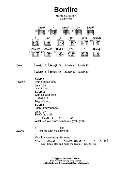 Cat Stevens Bonfire sheet music notes and chords. Download Printable PDF.