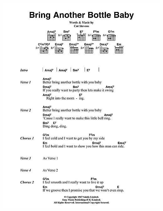 Cat Stevens Bring Another Bottle Baby sheet music notes and chords. Download Printable PDF.