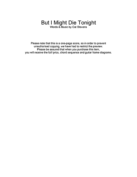 Cat Stevens But I Might Die Tonight sheet music notes and chords. Download Printable PDF.