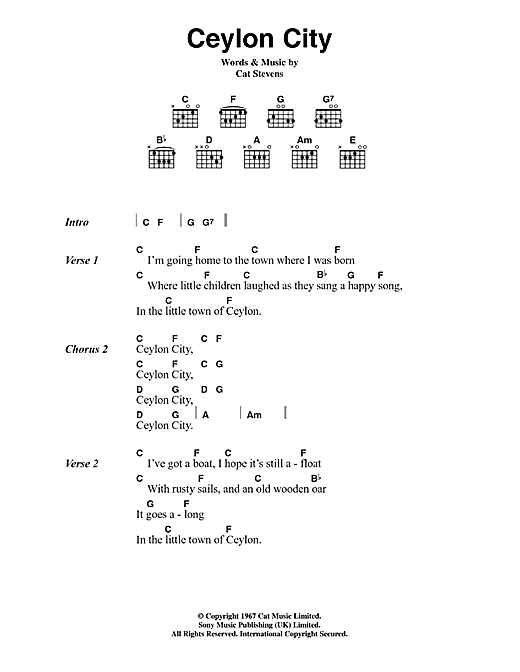 Cat Stevens Ceylon City sheet music notes and chords. Download Printable PDF.