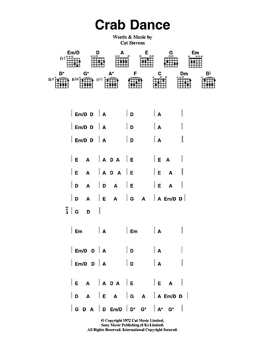 Cat Stevens Crab Dance sheet music notes and chords. Download Printable PDF.