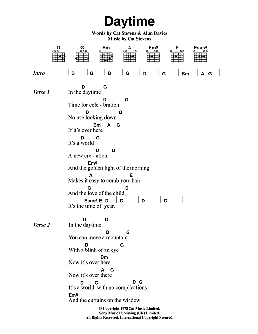 Cat Stevens Daytime sheet music notes and chords. Download Printable PDF.