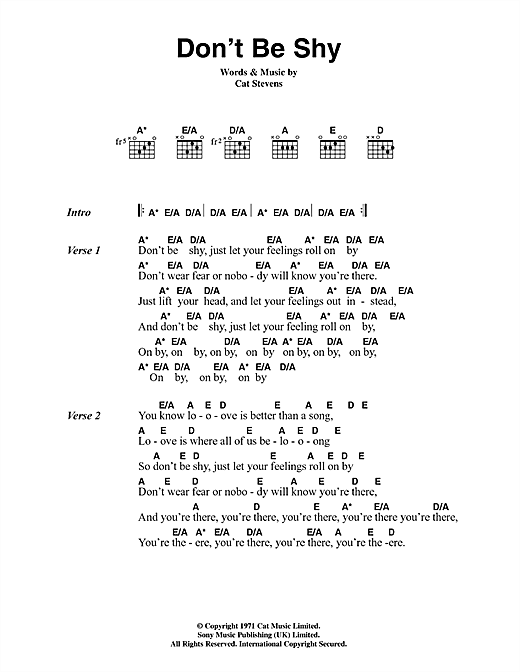 Cat Stevens Don't Be Shy sheet music notes and chords. Download Printable PDF.