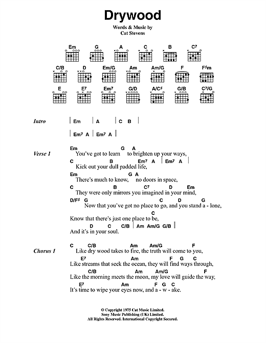 Cat Stevens Drywood sheet music notes and chords. Download Printable PDF.