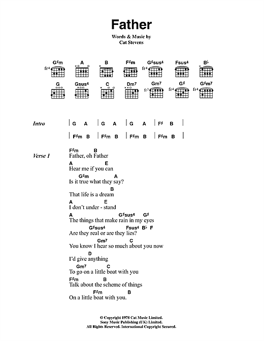 Cat Stevens Father sheet music notes and chords. Download Printable PDF.