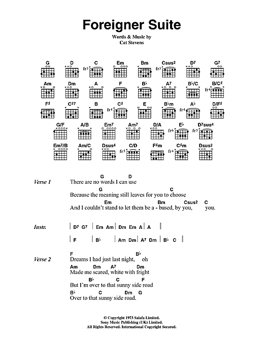 Cat Stevens Foreigner Suite sheet music notes and chords. Download Printable PDF.