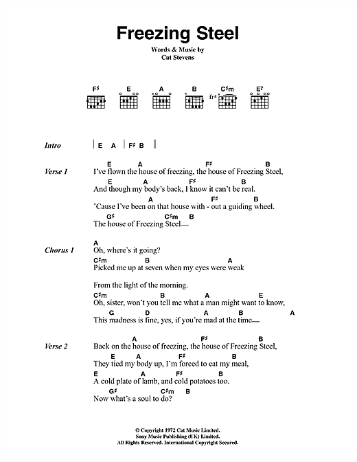 Cat Stevens Freezing Steel sheet music notes and chords. Download Printable PDF.