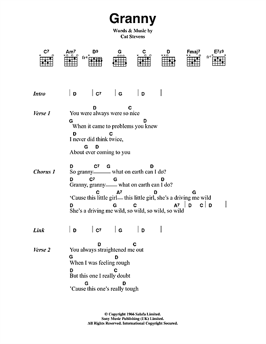 Cat Stevens Granny sheet music notes and chords. Download Printable PDF.