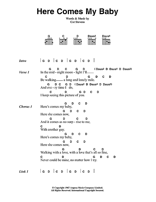 Cat Stevens Here Comes My Baby sheet music notes and chords. Download Printable PDF.