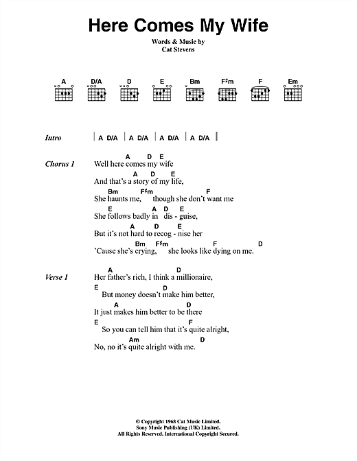Cat Stevens Here Comes My Wife sheet music notes and chords. Download Printable PDF.