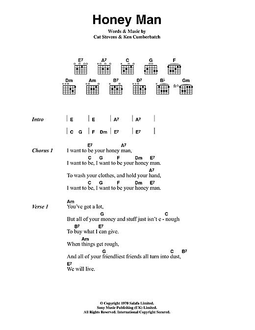 Cat Stevens Honey Man sheet music notes and chords. Download Printable PDF.