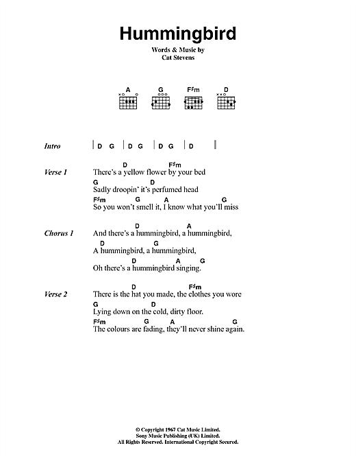 Cat Stevens Hummingbird sheet music notes and chords. Download Printable PDF.