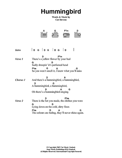 Cat Stevens Hummingbird sheet music notes and chords. Download Printable PDF.