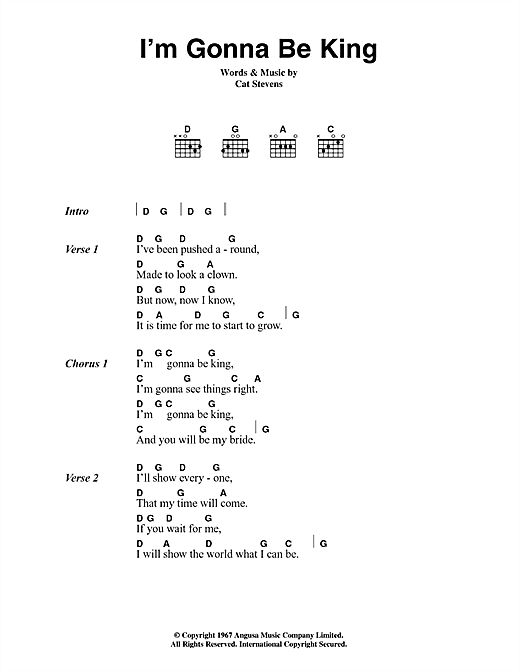 Cat Stevens I'm Gonna Be King sheet music notes and chords. Download Printable PDF.