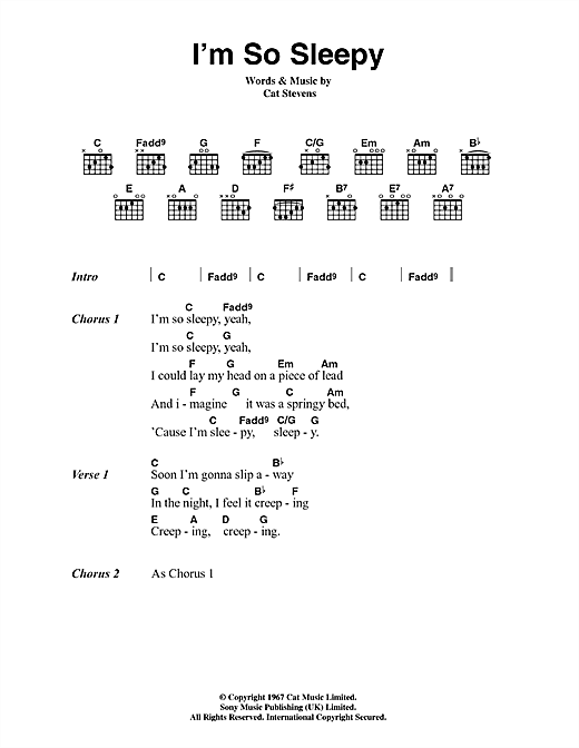 Cat Stevens I'm So Sleepy sheet music notes and chords. Download Printable PDF.