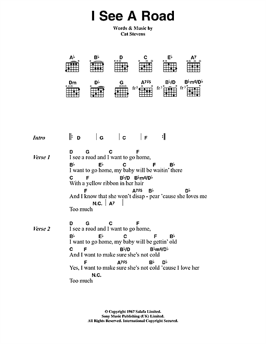 Cat Stevens I See A Road sheet music notes and chords. Download Printable PDF.