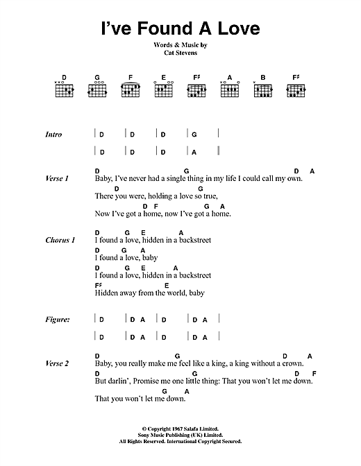 Cat Stevens I've Found A Love sheet music notes and chords. Download Printable PDF.