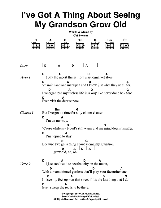Cat Stevens I've Got A Thing About Seeing My Grandson Grow Old sheet music notes and chords. Download Printable PDF.