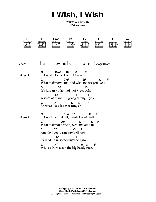 Cat Stevens I Wish, I Wish sheet music notes and chords. Download Printable PDF.