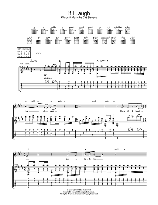 Cat Stevens If I Laugh sheet music notes and chords. Download Printable PDF.