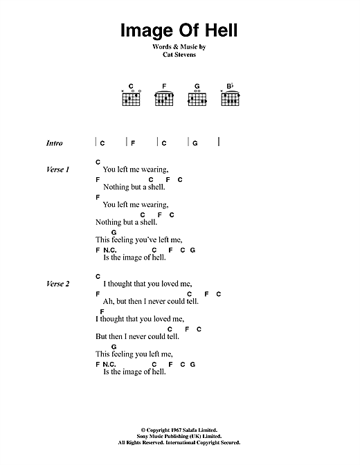 Cat Stevens Image Of Hell sheet music notes and chords. Download Printable PDF.