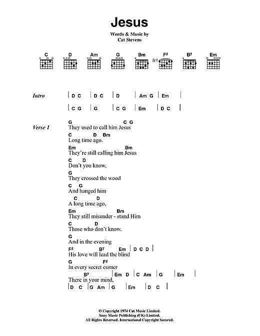 Cat Stevens Jesus sheet music notes and chords. Download Printable PDF.